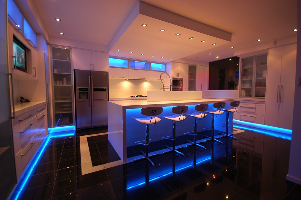 Kitchen with recessed lighting